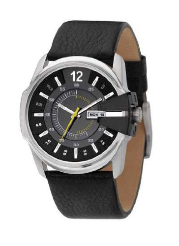 Diesel Gents Fashion Black Leather Strap Watch DZ1295