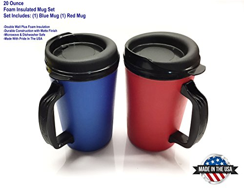 2 ThermoServ Foam Insulated Coffee Mug 20 oz w/Lids (1)Blue & (1)Red (Coffee Mug For Microwave compare prices)