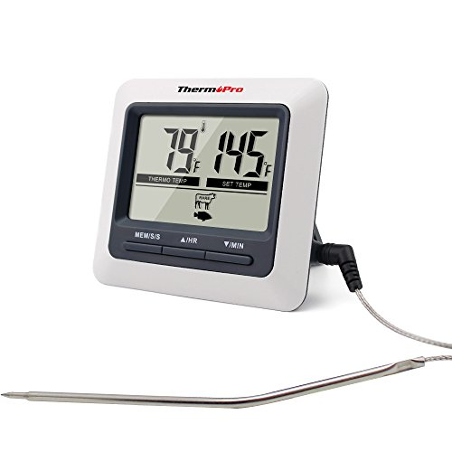 ThermoPro TP-04 Large LCD Digital Grilling Oven, Cooking, Meat Thermometer Built in Cooking Clock Timer with Stainless Steel Step-Down Probe
