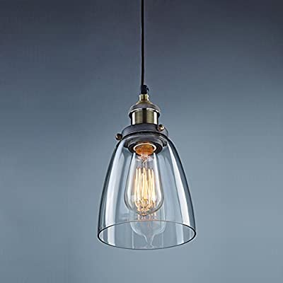 CLAXY® Ecopower Industrial Edison Mini Glass 1-Light Pendant Hanging Lamp Fixture