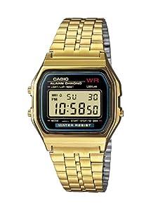 Casio CASIO Collection Men - Reloj digital de caballero de cuarzo con correa de acero inoxidable dorada (alarma, cronómetro, luz)
