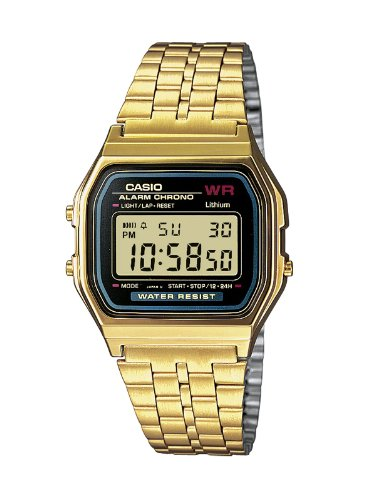 Casio Men's Digital Watch A159WGEA-1EF with Gold Tone Stainless Steel Bracelet
