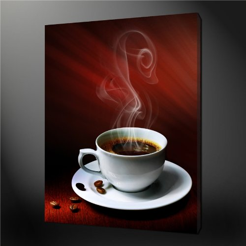 Canvas Print Wall Art Painting For Home Decor,A Cup Of Hot Coffee With Coffee Bean And Magic Smoke Paintings Modern Giclee Stretched And Framed Artwork The Picture For Living Room Decoration,Abstract Pictures Photo Prints On Canvas