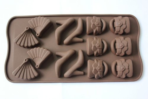 Fashion shoes folding fan Silicone Chocolate Mold Cake Craft Candy Baking molds (Folding Fan Making Supplies compare prices)