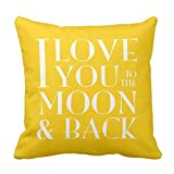 NicholasCGShopOnline C5235F Cotton Linen Decorative Throw Pillow Case Cushion Cover Yellow I Love you to the moon 18