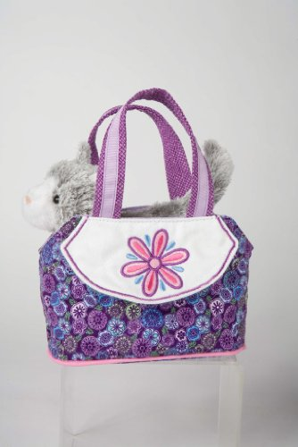 Purple Swirl Tote with Gray Cat Sassy Pet Sak - 1