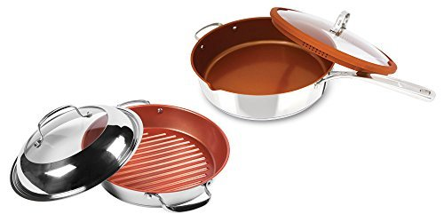 NuWave 11-Inch Stainless Steel Grill Pan with Lid PLUS Bonus Stainless Steel Everyday Pan (Nuwave Grill Pan compare prices)