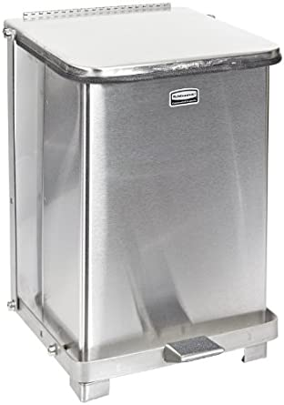 Rubbermaid Commercial Stainless Steel Defenders Biohazard Step Trash Can, Square