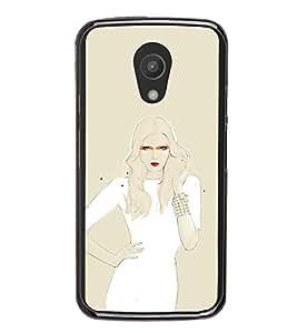 iFasho modern Girl in white dress painting Back Case Cover for Moto G2