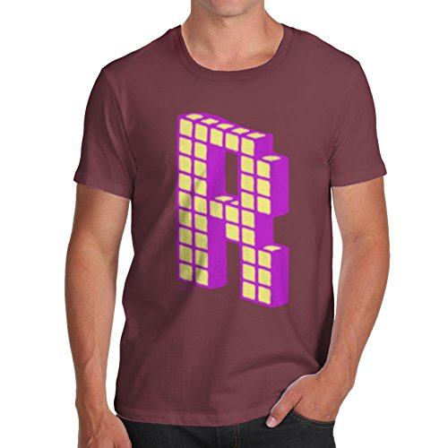 Twisted Envy Men's Alphabet Letter R - Romeo - Roger 100% Organic Cotton Burgandy T-Shirt X-Large (Movies That Start With The Letter R)