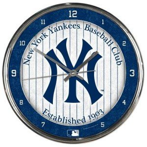 MLB New York Yankees Chrome Clock