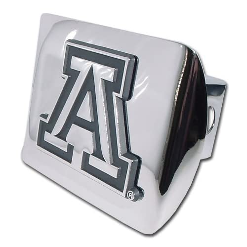 University of Arizona Wildcats Bright Polished Chrome with Block Letter A Emblem NCAA College Sports Metal Trailer Hitch Cover Fits 2 Inch Auto Car Truck Receiver
