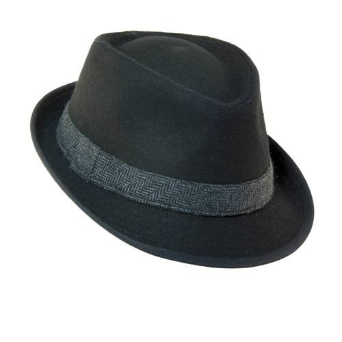 Dorfman Pacific Mens Wool Blend Fedora Hat with Herringbone Band, Large, Black