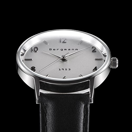 Bergmann Brand Vintage Mens Watches Silver Dial Black Leather Wrist Watch Classic 1953 2