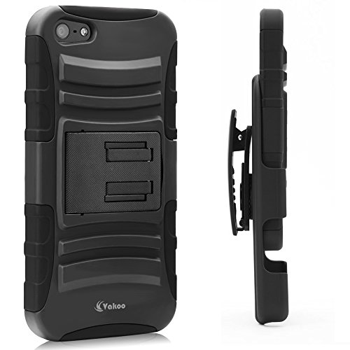 Vakoo 3-in-1 Combo Shockproof Rugged Dual Layer Armor Holster Case with Locking Belt Swivel Clip and Kickstand for Apple iPhone 5 / 5s - Black