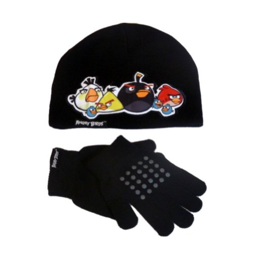 Image of Angry Birds Hat Set Boys Black Angry Bird Beanie Winter Hat Gloves Stocking Cap