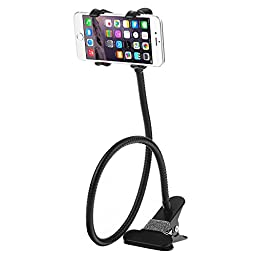 Cell Phone Holder, Dealgadgets Universal Gooseneck Cell Phone Clip Holder Lazy Bracket Flexible Long Arms for iPhone 6 plus/6/5s/5/4S/4,Samsung Galaxy, HTC, Nokia, LG GPS Devices with Clean Cloth, Great for Bedroom, Office, Bathroom, Kitchen,Car etc.(Blac