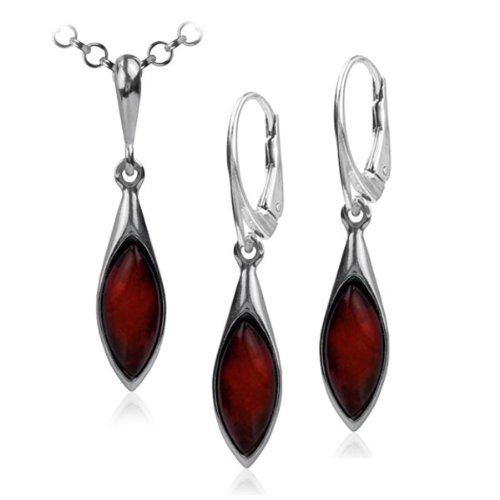 Cherry Amber Sterling Silver Marquise Leverback Earrings and Necklace Set Rolo Chain 18 Inches