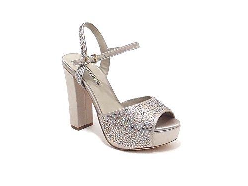 Luciano Barachini scarpa donna, modello sandalo gioiello 6256, in raso,colore champagne