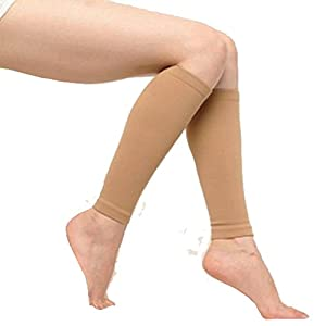 Nude Compression Calf & Shin Support Sleeves ( Set of 2 ) by Beauty America USA