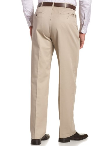 Haggar Men's Work To Weekend Khakis Hidden Expandable Waist No Iron Pleat Front Pannts