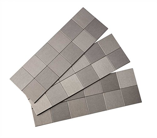 Aspect Peel and Stick Backsplash 12inx4in Square Stainless Matted Metal Tile for Kitchen and Bathrooms