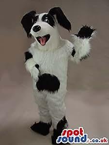 Amazon com hairy white and black dog pet plush spotsound us mascot