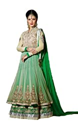 Priyanshu Creation Women's Net Green Dress Material