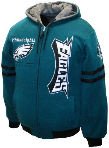 NFL Men's Philadelphia Eagles Dual Edge Reversible Hoodie Full-Zip Sweatshirt (Midnight Green/Charcoal Heather, X-Large)