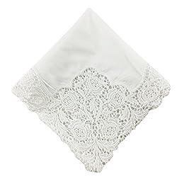 OWM Handkerchiefs Bride Luxury Wedding Lace Handkerchiefs White