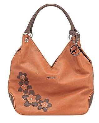 TAMARIS Handtasche LUNA, Shopper, Applikationen, Metallemblem, 4 Farben: jade grün, rose, papaya braun oder weiss, Farbe:papaya