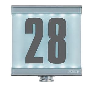 steinel beleuchtete hausnummer farbe silber mit infrarot. Black Bedroom Furniture Sets. Home Design Ideas