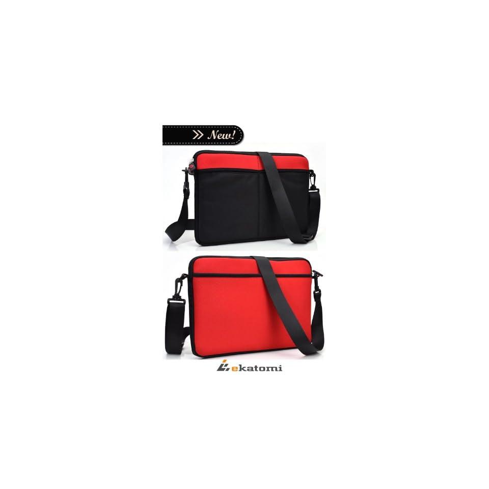 Dell Inspiron Mini 12.1 Inch Netbook Laptop Case  Universal Messenger Bag   RED & BLACK [Scoop]. Bonus Ekatomi screen cleaner