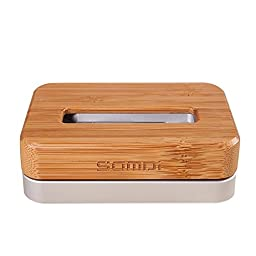 MMOO Bamboo & Metal Stand Holder Desktop Charging Cradle For iPhone5/5c/5s/6 (Silver)