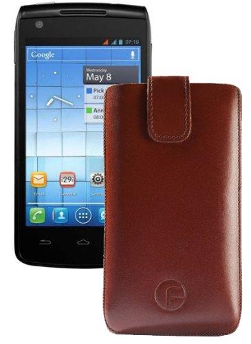 Original Favory Etui Tasche fuer / Alcatel One Touch 992D (Dual-Sim) / Leder Etui Handytasche Ledertasche Schutzhuelle Case Huelle *Speziell - Lasche mit Rueckzugfunktion* In Braun