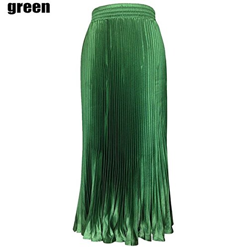"Letsshopping Victoria Vintage pieghe gonne di seta di emulazione di moda elastico in vita gonna grande ""34 In"" (Unica, verde)"