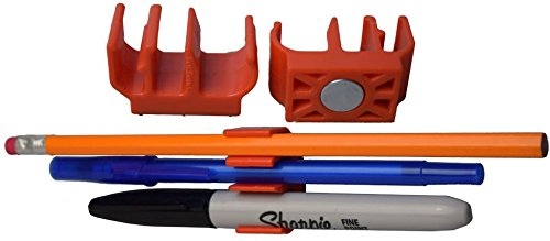 Magnetic Pencil Holder and Pen Clip (10 Pack, ORANGE) Holds 3 writing utensils! Great for pencil, pen, Sharpie & more! Rare Earth Magnet for desk, locker, fridge, craft room, under cabinet, etc. (Under Desk Fridge compare prices)