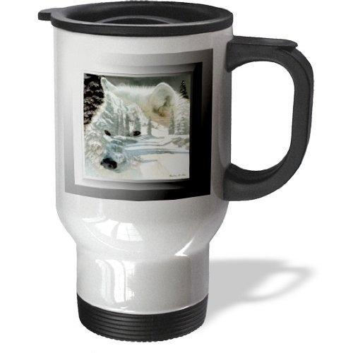 Tm_26660_1 Smudgeart Wildlife Designs - Spirit Of The Wilderness White Wolf - Travel Mug - 14Oz Stainless Steel Travel Mug
