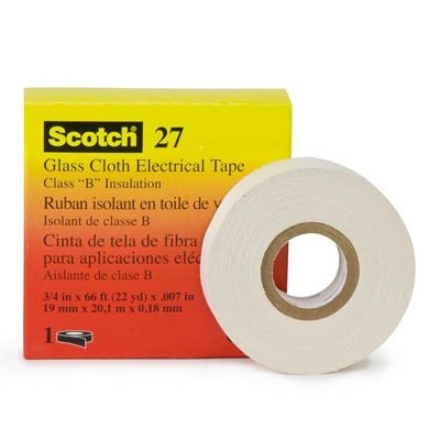 "3M 27 Corrosion Resistant High-Temperature White Glass Cloth Tape, 1/2"" X 66'"