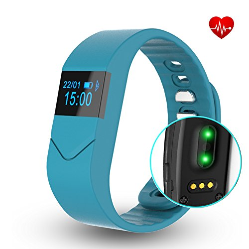 EIISON Fitness Tracker with Heart Rate monitor E5S Activity Watch Step Walking Sleep Counter Wireless Wristband Pedometer Exercise Tracking Sweatproof Sports Bracelet for Android and iOS (Blue)