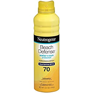Neutrogena Beach Defense Spray Sunscreen Broad Spectrum SPF 70, 6.5 Ounce (Pack Of 3)
