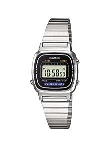 Casio LA670WEA-1EF - Reloj digital de cuarzo para mujer con correa de acero inoxidable, color plateado por Casio