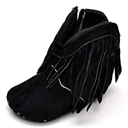 Beeliss Baby Infant Suede Tassels Zippers Soft Sole Western Cowboy Cowgirl Snow Boots (0-6 Months, Black)