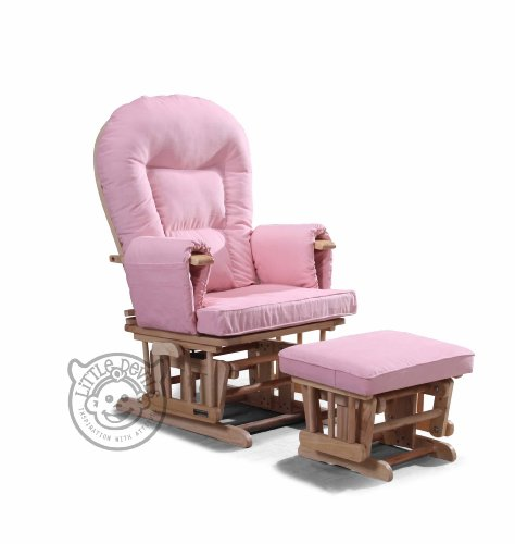 PINK SUPREMO BAMBINO Nursing Glider/Gliding Rocking Maternity Chair with Free Footstool and Protective Cover