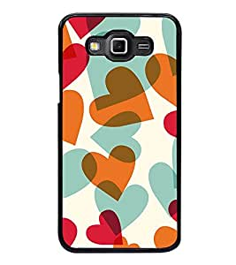 Fuson Premium 2D Back Case Cover Cute hearts pattern With pink Background Degined For Samsung Galaxy E7::Samsung Galaxy E7 E700F