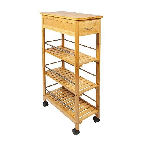 Woodluv Slimline Bambus-Kücheninsel / -Rollwagen