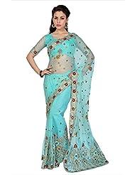 Designersareez Women Sky Blue Net Saree With Unstitched Blouse (1589)