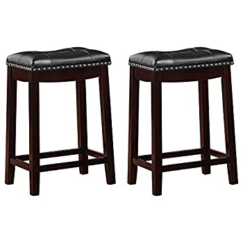 Angel Line Cambridge Padded Saddle Stool, Espresso with Black Cushion, 24