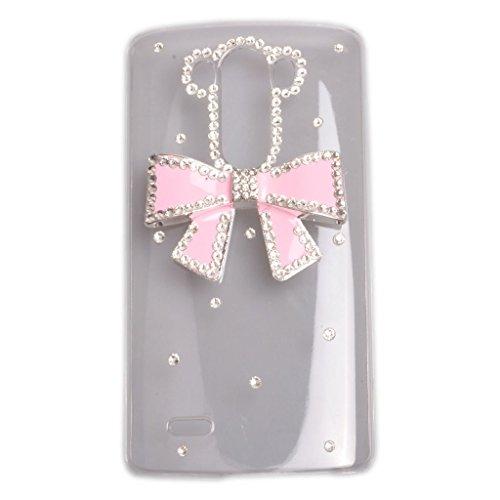 EVTECH (TM) perle di cristallo 3D con strass, Custodia rigida trasparente per LG G4 H815 H818, 100% realizzato a mano)