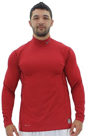 Nike Pro Combat Mens Hyperwarm Fitted Mock Long Sleeve Shirt by Nike